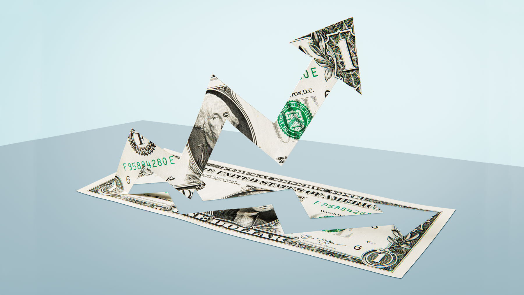 Financial actions to take during coronavirus (dollar bill with stock arrow)
