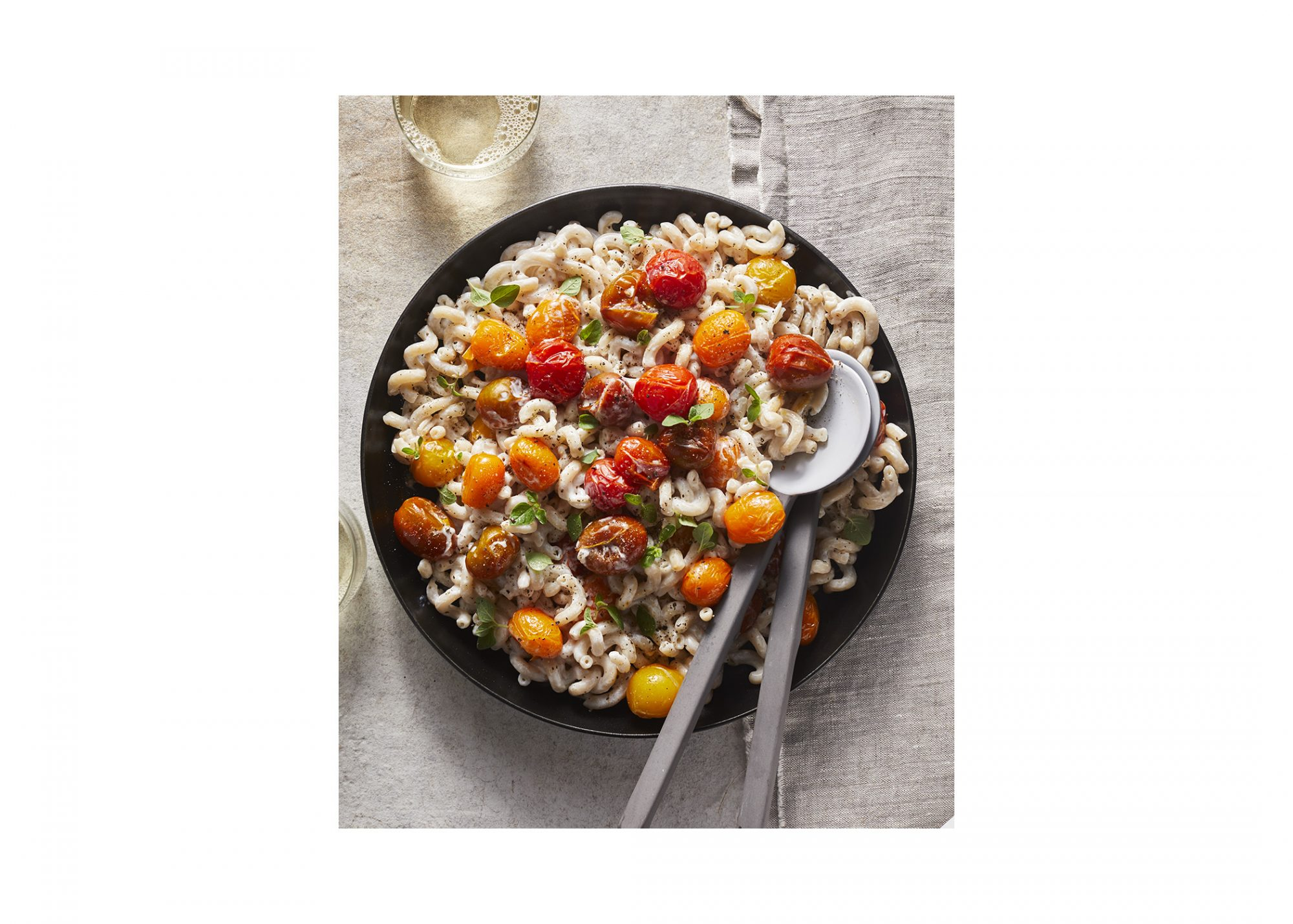 Pasta With Garlicky Yogurt Sauce And Roasted Cherry Tomatoes
