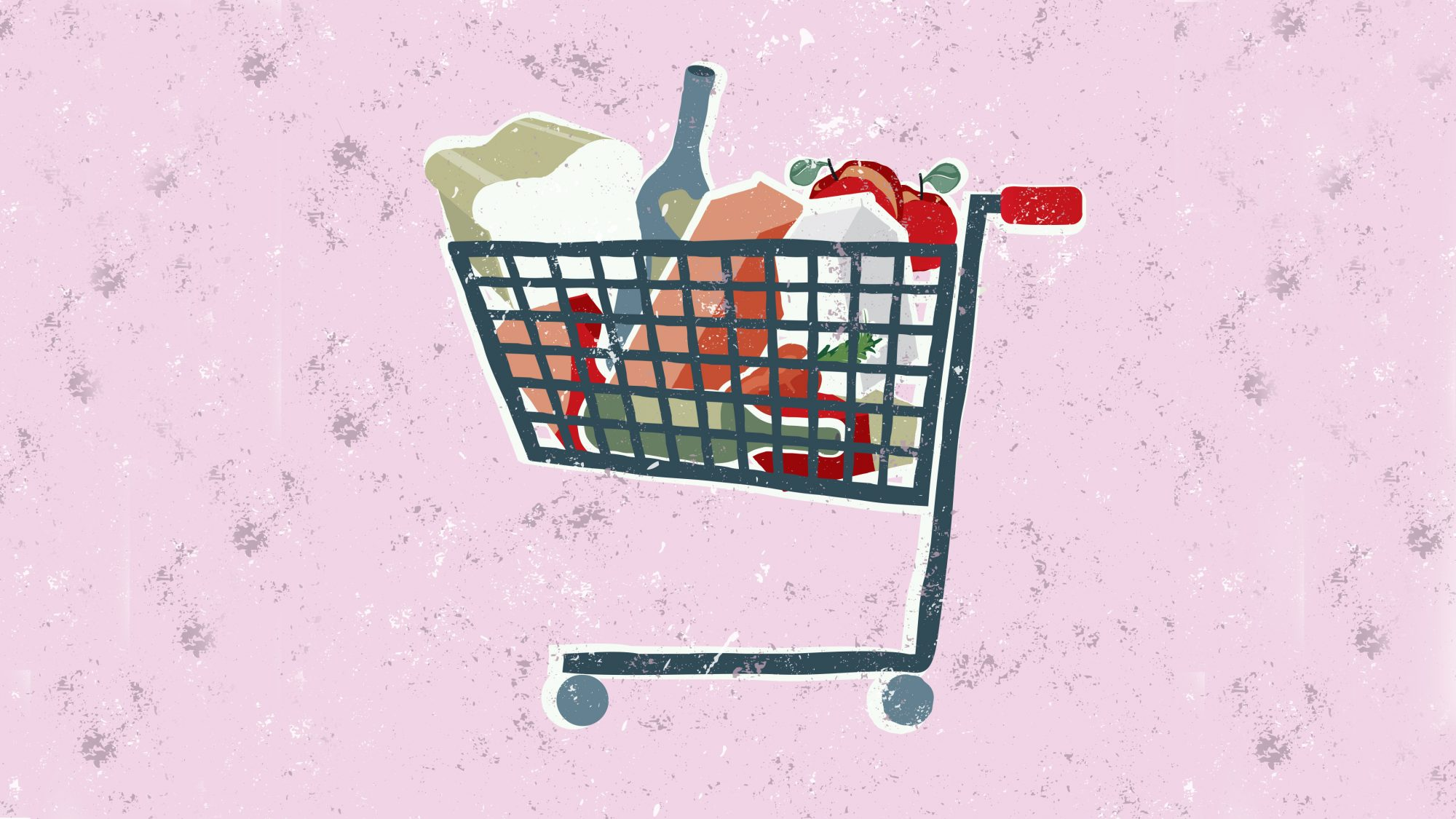 illustration of grocery cart with groceries