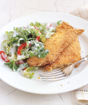 Crispy Chicken Cutlets With Creamy Romaine Salad