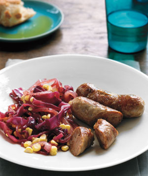 Sausage With Cabbage and Corn Saute