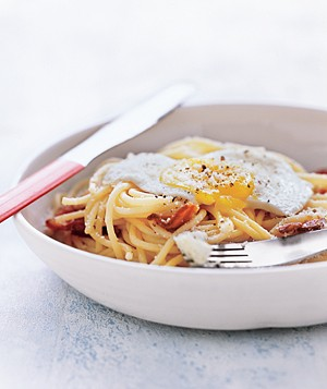 Spaghetti With Bacon and Eggs