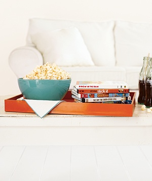 Bowl of popcorn on a coffee table
