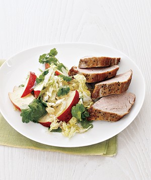 Pork Tenderloin with Cabbage and Apple Slaw