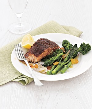 Blackened Salmon With Broccoli Rabe and Raisins
