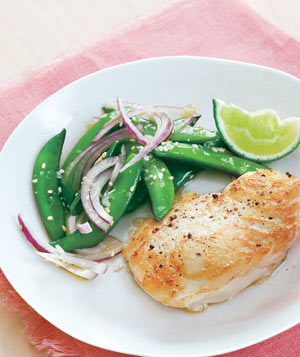 Halibut With Sugar Snap Pea Salad