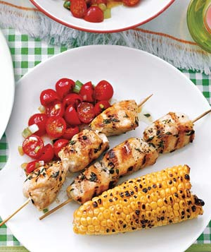 Chicken Kebabs With Grilled Corn and Tomato Salad