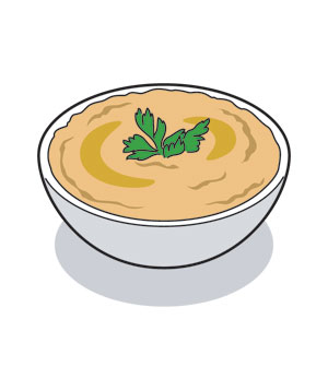 Illustration of a bowl of hummus