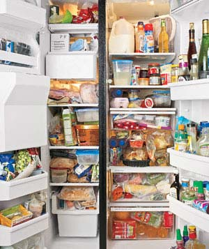 Cluttlered refrigerator and freezer