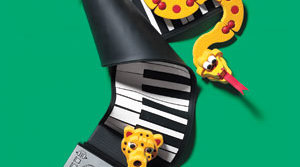 Roll-up piano keyboard and Bloco's animal building set
