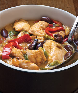 Chicken and Pepper Stew With Olives