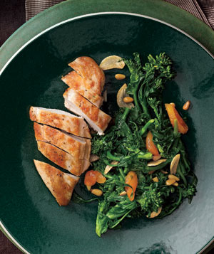 Chicken With Broccoli Rabe, Apricots, and Pine Nuts