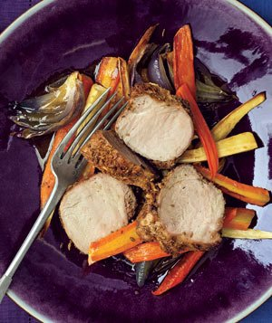 Fennel-Crusted Pork With Roasted Root Vegetables