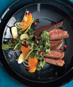 Steak With Arugula, Orange, and Hearts Of Palm Salad