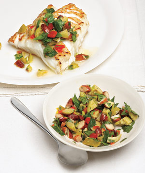 Striped Bass With Olive-Almond Relish