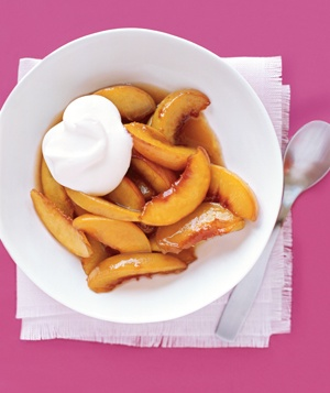 Warm Peaches With Whipped Cream