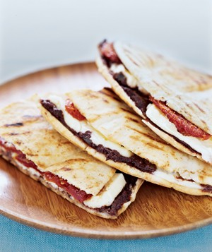 Feta, Sun-Dried Tomatoes, and Olive Tapenade in a Pita