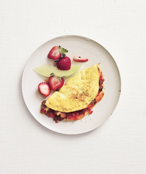 Sausage, Pepper, and Cheddar Omelet