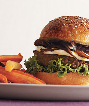 Burgers With Shallots and Vegetable Fries