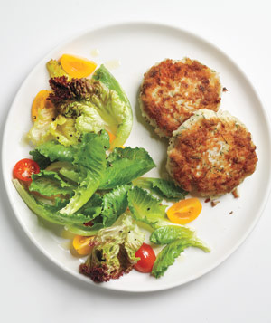 Dijon Fish Cakes With Greens