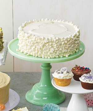Yellow Cake With Vanilla Frosting And White Chocolate Chips