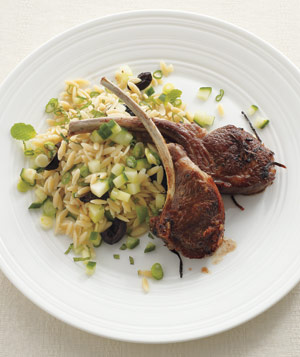 Lamb Chops With Orzo and Cucumber Salad