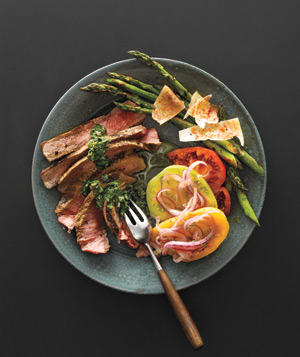 Grilled Steak With Caper Sauce, Grilled Asparagus With Manchego, and Tomato Salad With Pickled Onion