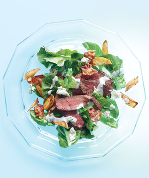 Steak Salad With Bacon and Crispy Potatoes and Blue Cheese Dressing