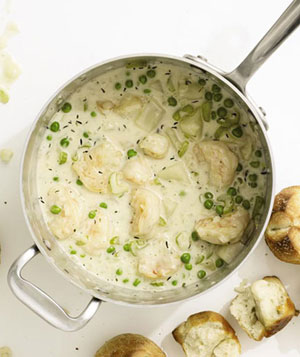 Shrimp Chowder With Buttery Rolls