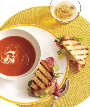 Tomato Soup With Roast Beef, Cheddar, and Horseradish Panini