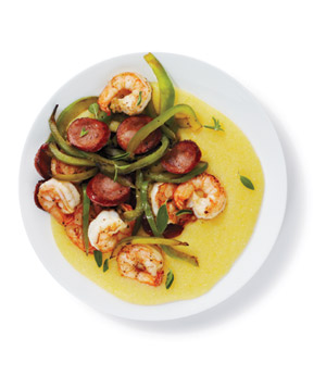 Shrimp and Sausage With Polenta