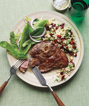 Lamb With Couscous Pilaf and Green Salad
