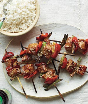 Glazed Pork Kebabs and Sesame Rice
