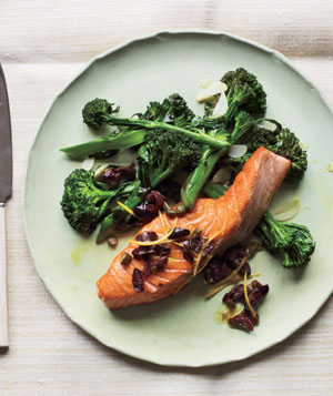 Salmon With Olive Relish and Broccolini