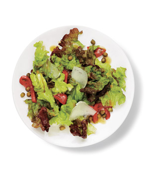 Red Leaf, Roasted Red Pepper, and Pecorino Salad