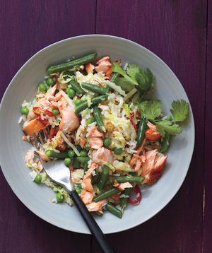Salmon Fried Rice With Cabbage and Chilies