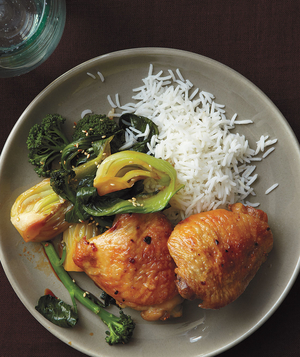 Ginger-Roasted Chicken With Bok Choy and Broccoli