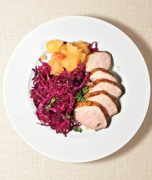 From Red Wine Applesauce Health And >> Pork Tenderloin With Red Cabbage And Applesauce Recipe Real Simple