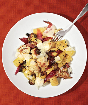 Rigatoni With Roasted Cauliflower and Brussels Sprouts