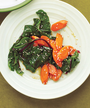 Beet Greens and Carrots With Sesame Dressing