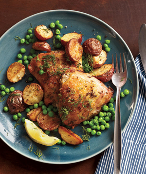 Herb-Roasted Chicken With Potatoes and Peas