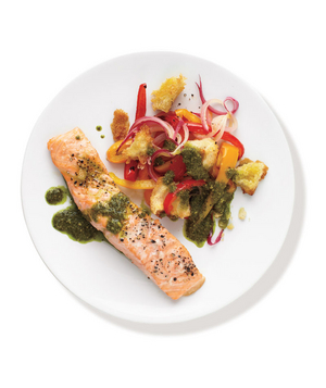 Roasted Salmon With Pesto Vegetables