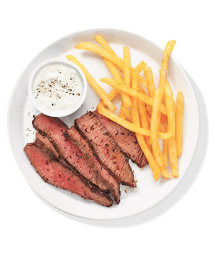 Herb-Crusted Steak With Fries