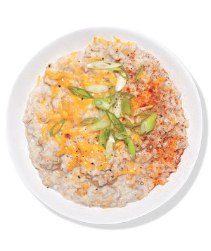 Oatmeal With Cheddar and Scallion