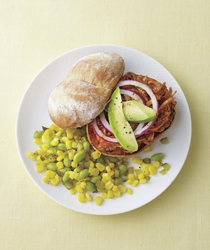 Barbecue Chicken Sandwich with Sautéed Corn, Edamame, and Pickles