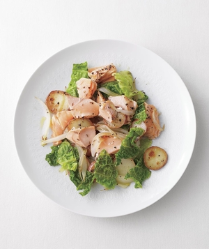 Salmon and Savoy Cabbage Hash