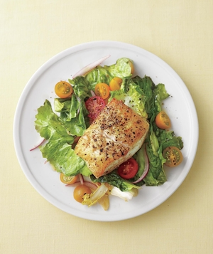 Seared Fish with Tomatoes and Garlicky Escarole