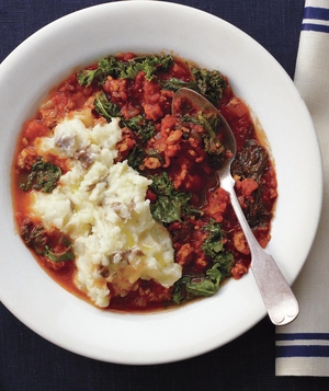 Sausage and Kale Stew With Olive Oil Mashed Potatoes