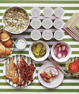 BLT bar with toppings and sides