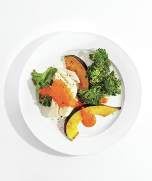 Roasted Cod With Squash and Spicy Red Pepper Sauce